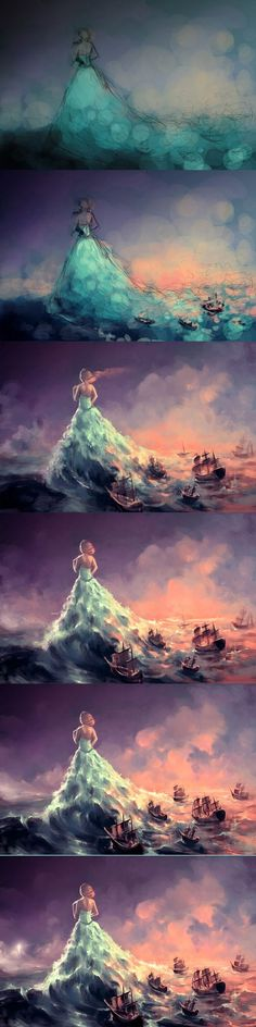 WIP Calypso by `AquaSixio on deviantART - I need to turn this illustration into a photo! Art And Illustration, Fantasy Kunst, Fantasy Art, Pintura Graffiti, Drawn Art, Art Watercolor, Tatoo Art, Wow Art, Pics Art