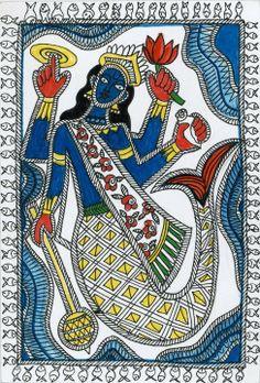 Madhubani matsya avatar - design for my handmade greetingcards. Indian Art Traditional, Scottish Culture, Madhubani Art, Art Diary, Indian Folk Art, Embroidery Works, Madhubani Painting, Mermaids And Mermen, Indian Gods