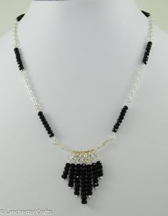 Black Swarovski Crystal Waterfall Necklace - Handmade - Black crystals, silver chain, crystal jewellery