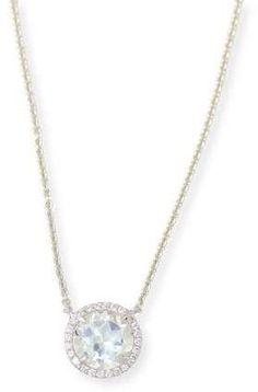 Frederic Sage Round White Topaz & Diamond Halo Necklace