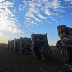 Cadillac Ranch at dawn. Amarillo, Texas.