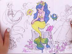 Mermaid Sketch, Mermaid Drawings, Mermaid Art, Cartoon Drawings, Cartoon Art, Cute Drawings, Drawing Sketches, Pretty Art, Cute Art