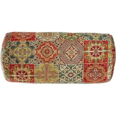 Fino Lino Linen & Lace Tegola Tile Patchwork Bolster Pillow ($273) ❤ liked on Polyvore featuring home, home decor, throw pillows, inspirational home decor, red bolster pillow, italian home decor, patchwork throw pillows and red accent pillows