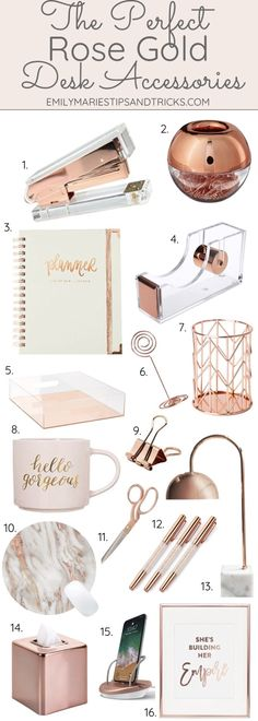 The Perfect Rose Gold Desk Accessories, Home Accessories, Click this pin to see how to style your desk with rose gold accessories! Gold Desk Accessories, Home Decor Accessories, Decorative Accessories, Bathroom Accessories, Rose Gold Rooms, Rose Gold Decor, Rose Gold Gifts, Deco Rose, Bedroom Desk
