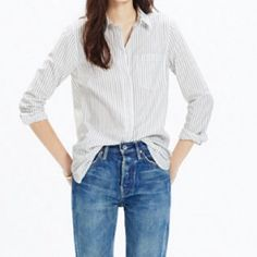 Madewell cafe stripped boyfriend shirt Madewell gray and white stripped cafe shirt. Size small but also looks great a little big on and Xs. Ike new. Worn once. Very light weight for spring. Madewell Tops Button Down Shirts
