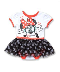 This Black & Coral Polka Dot Minnie Skirted Bodysuit - Infant by Disney is perfect! #zulilyfinds
