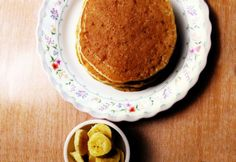 Banana Pancakes with no eggs (oats, bananas, baking powder, and non-dairy milk such as soy, almond, or coconut)