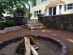 Milwaukee Metro paver fire ring and Spardust gravel patio.