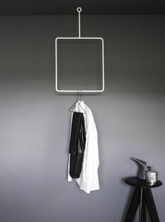 Minimalistic hand forged iron clothing rail produced in Sweden. AnnaLeena creates clean cut design objects to supplement her work as an interior stylist.