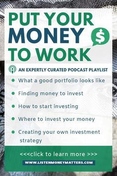 Investment education is key to investment success. Listen to this playlist to get the lowdown on investing--how to spot a good portfolio, find money to invest, start investing and where, and create your own investment strategy. investing for beginners, Investing In Stocks, Investing Money, Stock Investing, Money Tips, Money Saving Tips, Money Hacks, Where To Invest, Investment Tips, Investment Property