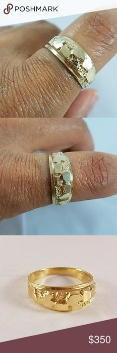 14k Solid Yellow Gold Men's nugget ring Approximately 4 grams. 8mm width,  Available in sizes 8 9 10 11 12 13. Also half sizes Accessories Jewelry