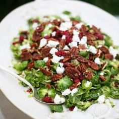 Brusseles Sprout Salad with Cranberries, Pecans, and Goat Cheese