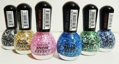 BRAND NEW!  YOU GET ALL 6 COLORS!  Gorgeous snow effect nail polishes!  Comes with black and white, pink, gold, blue, green and multi color!  ALL SALES FINAL