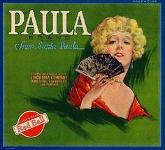 Santa Paula CA, Paula Brand fruit crate label
