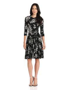 KAMALIKULTURE Women's 3/4 Sleeve Crewneck Flaired Dress, Black Vintage Rose, Small KAMALIKULTURE,http://www.amazon.com/dp/B00C40Y7D0/ref=cm_sw_r_pi_dp_j6.osb1QQ71TWFAG