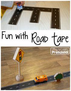 Road Tape - Play to Learn Preschool Preschool Classroom, Preschool Activities, Preschool Themes By Month, Preschool Cubbies, Preschool Alphabet, Alphabet Activities, Motor Activities, Preschool Art, Indoor Activities