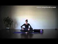 Restorative Yoga Sequence (14 min). Bound angle pose, wide-legged forward bend with head supported,  supported down dog, supported hero, supported seated forward bends, hamstring stretches, supported bridge