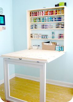 Quite a few readers have asked me to make a drop-down craft table similar to the one shown below. I decided to modify the design slightly to make a simple drop-down table that can be used as a craft table or workbench - See more at: http://www.home-dzine.co.za/diy-1/diy-folddown-craft.html#sthash.86YFnlLC.dpuf
