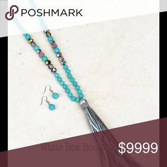 🎉Buy 1 Get 1 50% Off🎉Turquoise Silver Tassel Set Gorgeous Beaded Turquoise & Silver Tassel Necklace Set with Turquoise Earrings. Substantial and amazing quality. Gorgeous Grey Suede and Silver Tone Fabric Tassel combined with turquoise/diamond cut sparkle beading. Stunning! Jewelry Necklaces