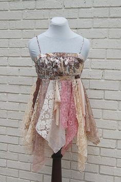 Fairy Woodland Gypsy Blouse Tank Shabby by GallimaufryClothing, $58.00