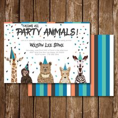 Calling All Party Animals Birthday Invite, Cupcake Topper and Party Favor Thank You - Henry's third party - Einladung Zoo Birthday, Animal Birthday, First Birthday Parties, Birthday Party Themes, Birthday Banners, 1st Birthdays, Birthday Ideas, Birthday Brunch, Birthday Design