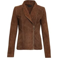 Suede Shawl Collar Jacket SCOOP ($598) ❤ liked on Polyvore featuring outerwear, jackets, brown jacket, slim jacket, suede leather jacket, slim fit jacket and zip front jacket