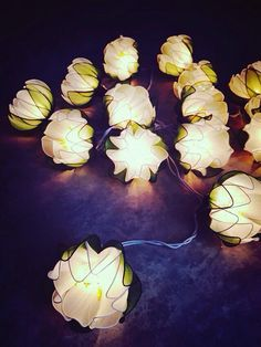 20 Bulbs White Lotus flower with leaf string lights for Patio,Wedding,Party and Decoration
