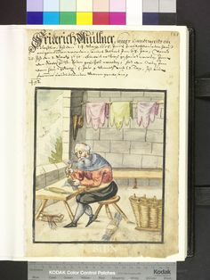 """http://www.nuernberger-hausbuecher.de/75-Amb-2-317b-79-r/large  """"the brother sits at his low table and hits with a hammer on the anvil, the metal staples on the laces tight. finished nestelbünde lie on the table and on the ground, in a commodity-basket. right is a large basket, on the wall in the background, are three animal pelts on a rod."""""""
