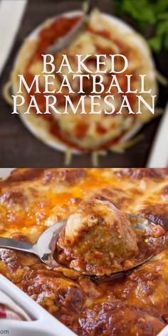 Baked Meatball Parmesan Baked Meatball Parmesan is delicious Italian comfort food! Tender Italian-style meatballs smothered in homemade tomato sauce and covered in three types of cheese – then baked until hot and bubbly! Casserole Recipes, Pasta Recipes, Chicken Recipes, Cooking Recipes, Healthy Recipes, Soul Food Recipes, Mince Recipes, Parmesan Recipes, Food Network Recipes
