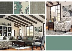 Beautiful combination of pattern and serene colors in this living room. Ashley Furniture available at Crandall's Home Furnishings.
