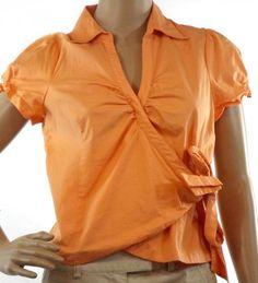 Women's Sunny LeighOrange Wrap Shirt Short Sleeve Cotton Spandex Size M…