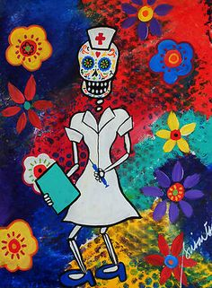 PRINT_Art Mexican FOLK ART Day of the Dead NURSE SUGAR SKULL Flowers_PRISTINE