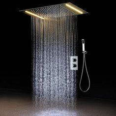 FW@ 2 ways Luxury Ceiling Mounted Shower Set Thermostatic Mixer Bathroom Led Rainfall LED Shower Head color Shower -- Awesome products selected by Anna Churchill Rain Shower Bathroom, Led Shower Head, Small Bathroom With Shower, Shower Faucet Sets, Shower Set, Modern Bathroom, Shower Rooms, Master Bathroom, Dream Bathrooms