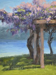"Daily Paintworks - ""Arbor Wisteria"" by Laurel Daniel 6*8"
