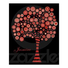 The Red Tree Name Wall Art Painting Canvas Poster