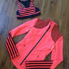 SALENWOT* Lululemon Jacket and Matching Bra Set! New without tags Lululemon jacket and matching bra . Both are a size 4 and so cute and in new condition! These are a must have! No trades please . I am open to offers . Thank you! lululemon athletica Jackets & Coats
