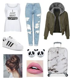 Women outfit Jeans White Adidas Suitcase
