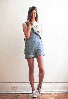 Gabrielle from dentelle + fleurs wears the Denim Short-All. #AmericanApparel