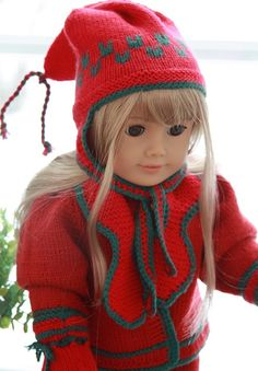A lovely hat and mittens - free dolls clothes knitting patterns Design: Målfrid Gausel