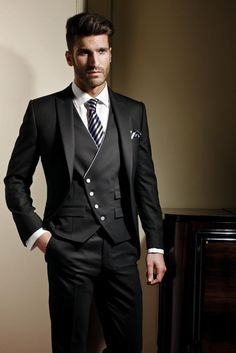 Rami Salamoun Hot Groom Tuxedos Slim Fit Black Handsome One Pockets Formal Groom Wear Suits Men Blazers Custom-Made Plus Size Tailcoat