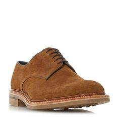 Loake Rowe suede round toe derby shoes, Tan