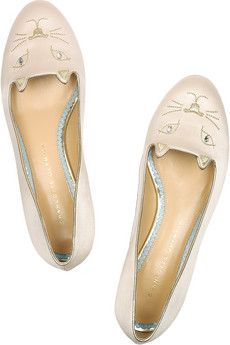 Charlotte Olympia - Kitty Embroidered Satin Flats   @Bunny Evans