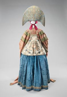 Ensemble (image 3 - Back)   Russian   19th century   silk, metal, linen, cotton   Brooklyn Museum Costume Collection at The Metropolitan Museum of Art   Accession Number: 2009.300.2323a–d
