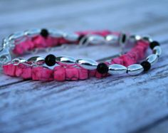 Hot Pink Shine-Three Strand Beaded Bracelet. Pink Jewelry. Silver Bracelet. Beaded Bracelet. Pink Beaded Jewelry. Black Beaded Bracelet. - Edit Listing - Etsy