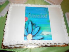 """How SWEET it is to see the book cover on a CAKE! """"The Lightbearers: Awake"""" Launch Party, July 26 at FoxTale Book Shoppe in Woodstock."""