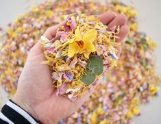 This Gorgeous Confetti mix is perfect for a Spring Wedding. How cute are the Dried Daffodils, mixed with Eucalyptus, Dried Rose & Wildflower Petals.