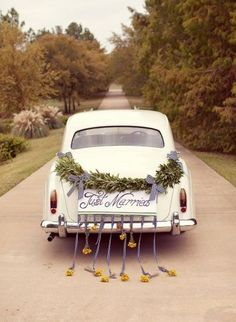 Image result for just married back of car