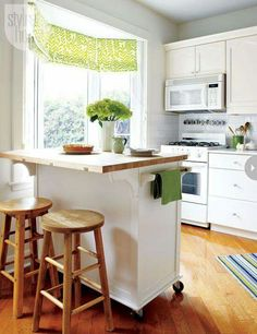 Rolling Kitchen Island With Stools Has A Drop Leaf Two Drawers Two Towel Bars And Would Make Great Use Of A Small Space