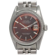 Rolex Stainless Steel Datejust Wristwatch with Custom-Colored Dial circa 1967 | From a unique collection of vintage wrist watches at http://www.1stdibs.com/jewelry/watches/wrist-watches/