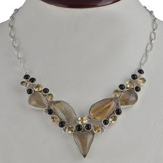 NEW GOLDEN RUTILE 925 SOLID STERLING SILVER FANCY NECKLACE 43.39g NK0052 #Handmade #NECKLACE